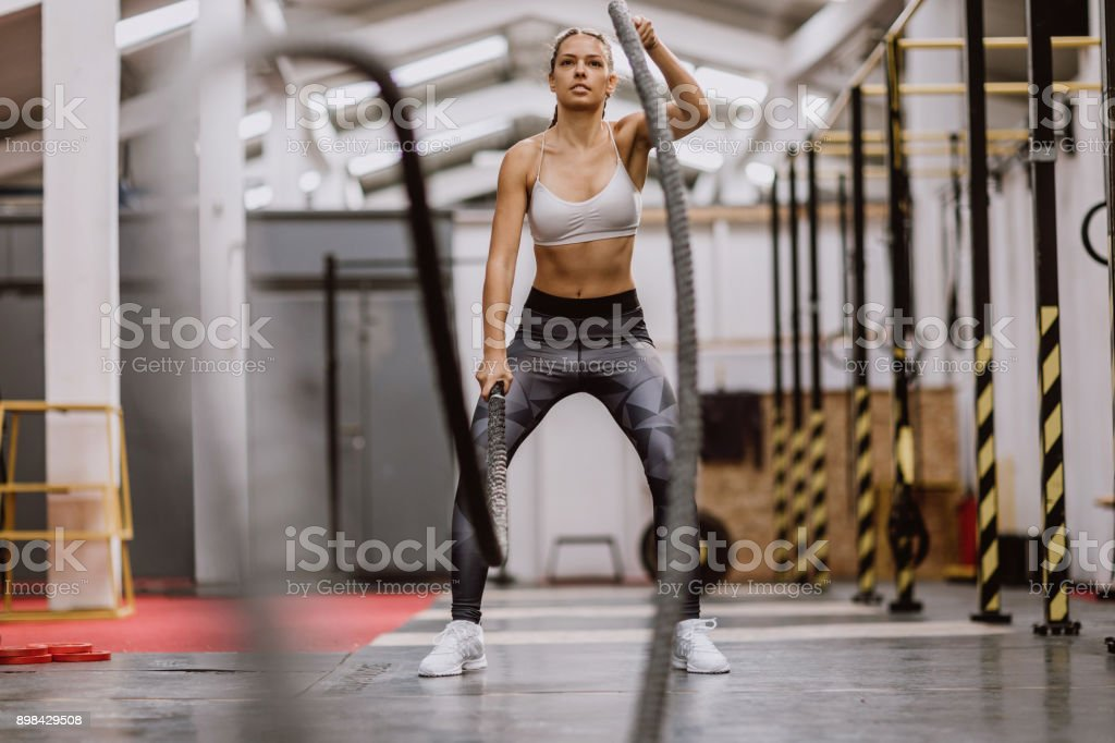 Body Building Battle Ropes stock photo