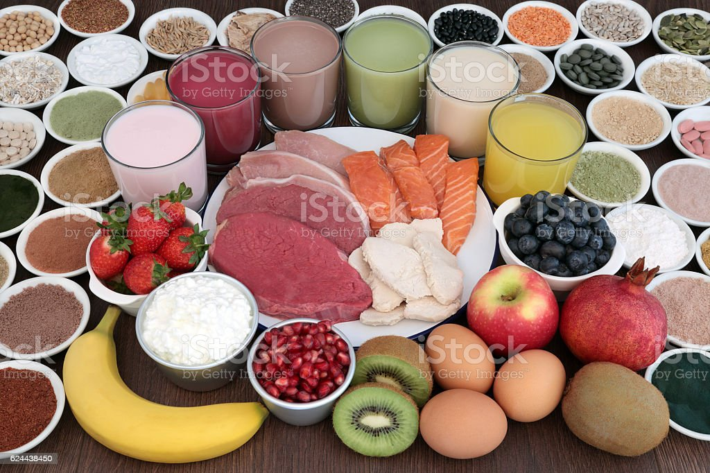 Body Building Health Food and Drinks stock photo