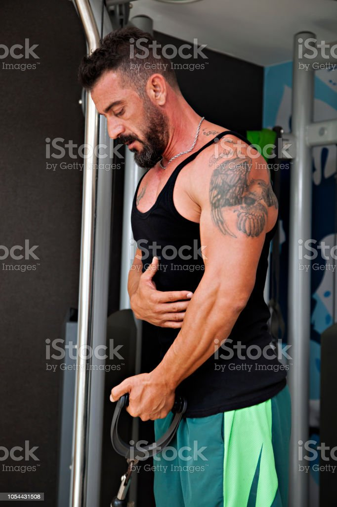 Vücut geliştirme egzersiz jimnastik salonu. stok fotoğrafı