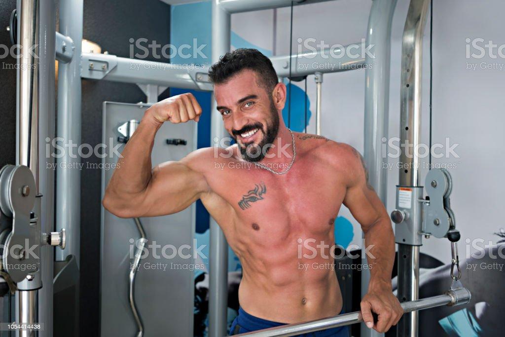 Vücut geliştirme egzersiz stok fotoğrafı