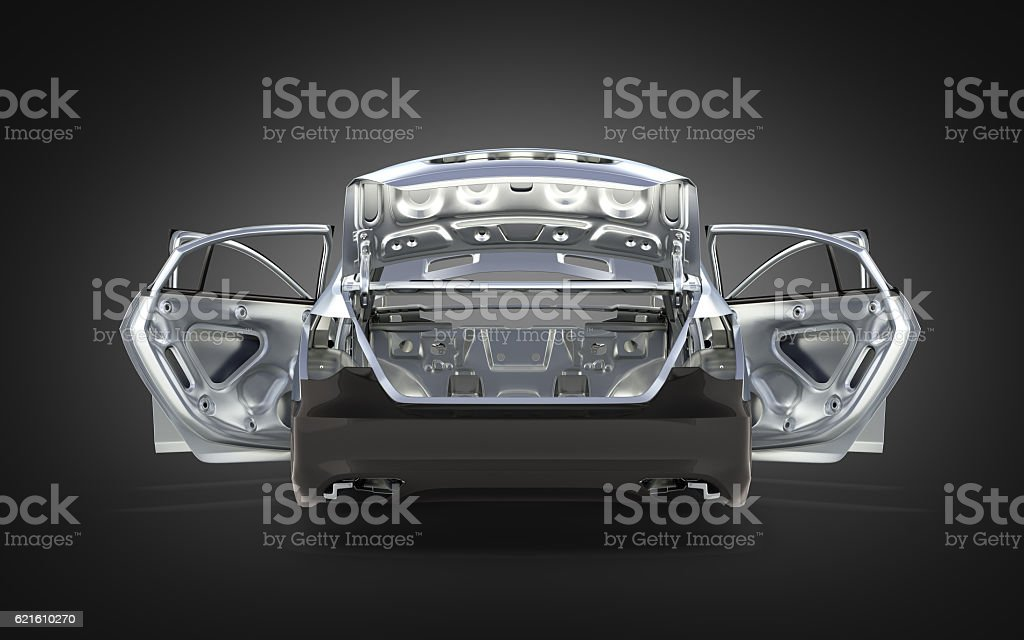 body car with no wheel back view stock photo