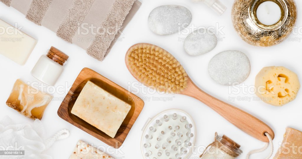 Body care and spa wellness products isolated on white background stock photo