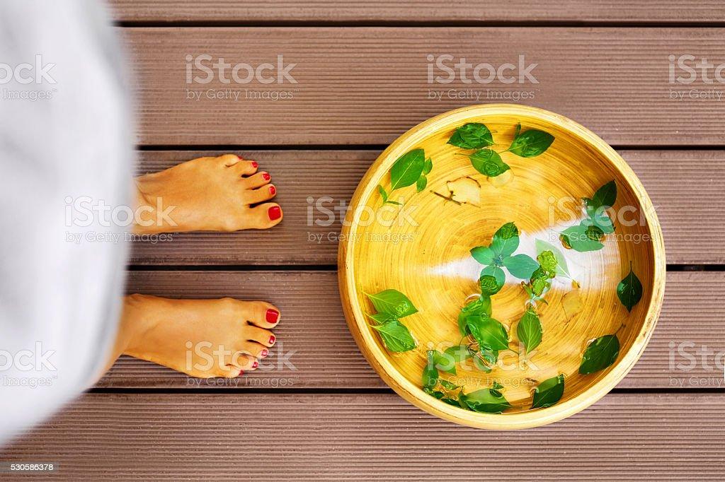 Body Care. Female Feet Spa Pedicure Procedure, Treatment. Basin, stock photo