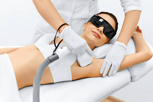 body care. laser hair removal. epilation treatment. smooth skin. - djurkroppsdel bildbanksfoton och bilder