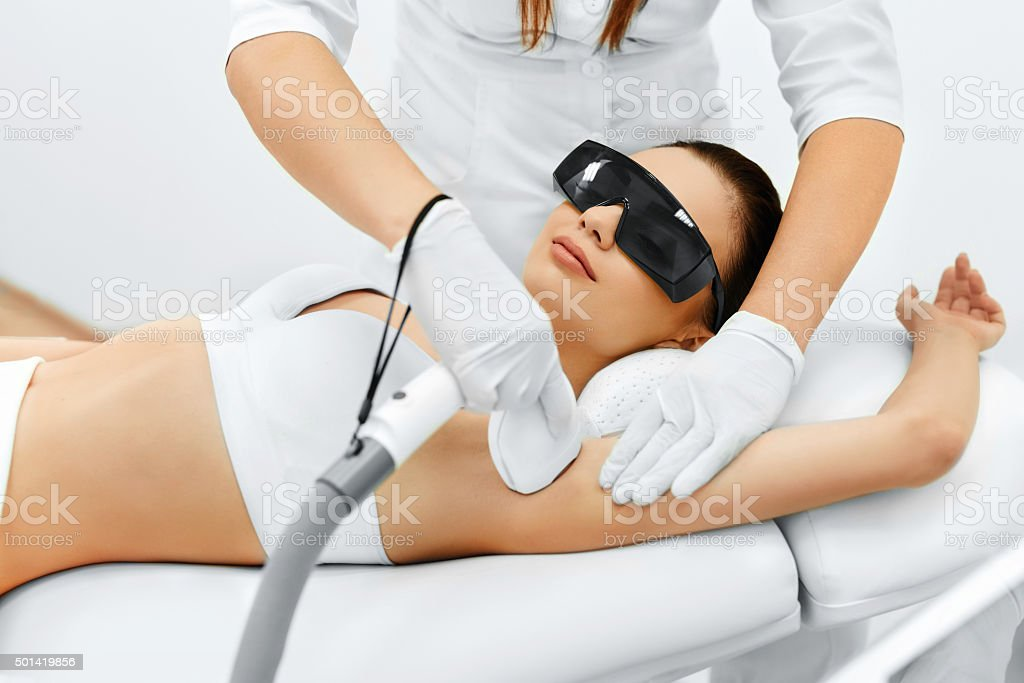 Body Care Laser Hair Removal Epilation Treatment Smooth Skin Stock Photo