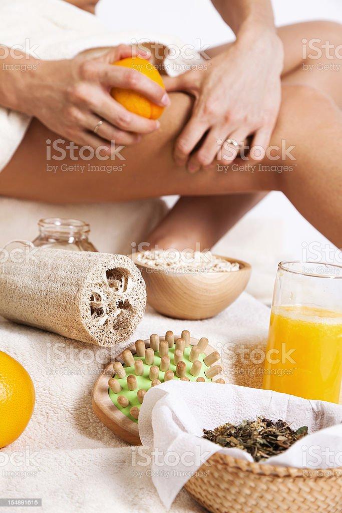 Body care. Organic Skin treatment. Massage with orange, oats,honey. royalty-free stock photo