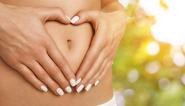 Body care, pregnancy or diet concept stock photo