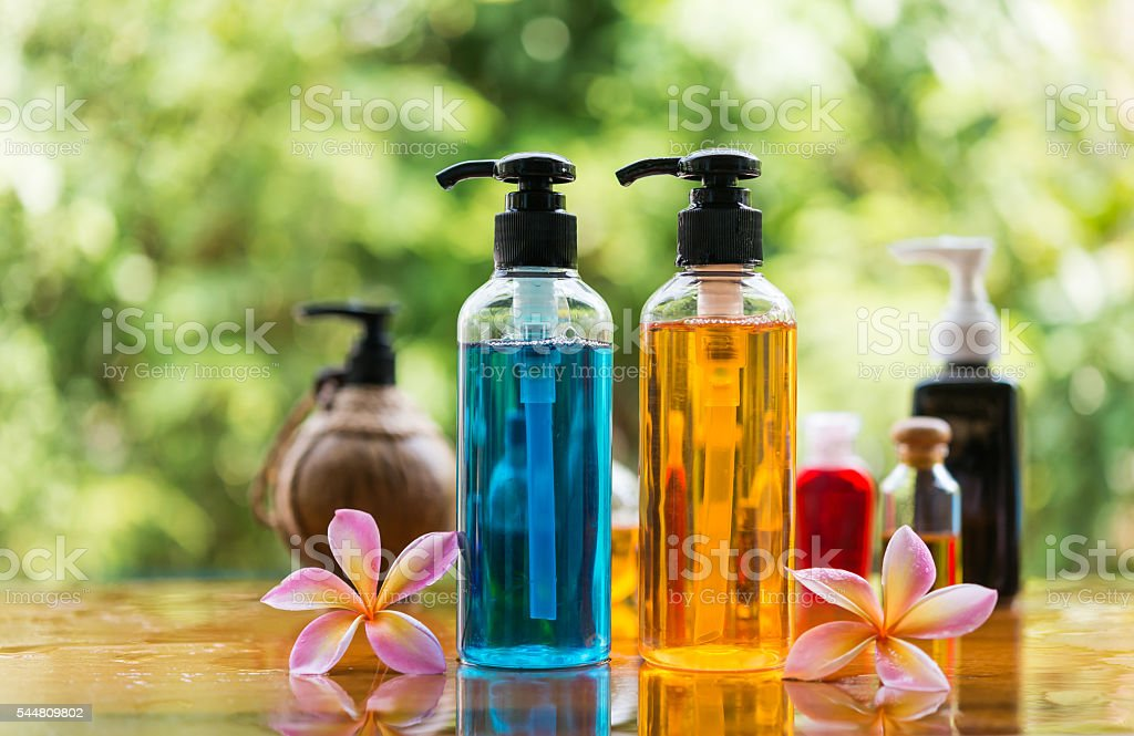Body care product,shower and shamphoo with plumeria flower stock photo
