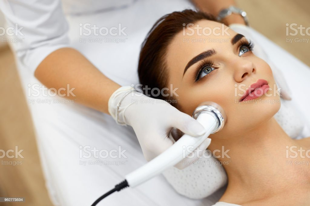Body Care Woman Receiving Face Skin Analysis Cosmetology Stock Photo