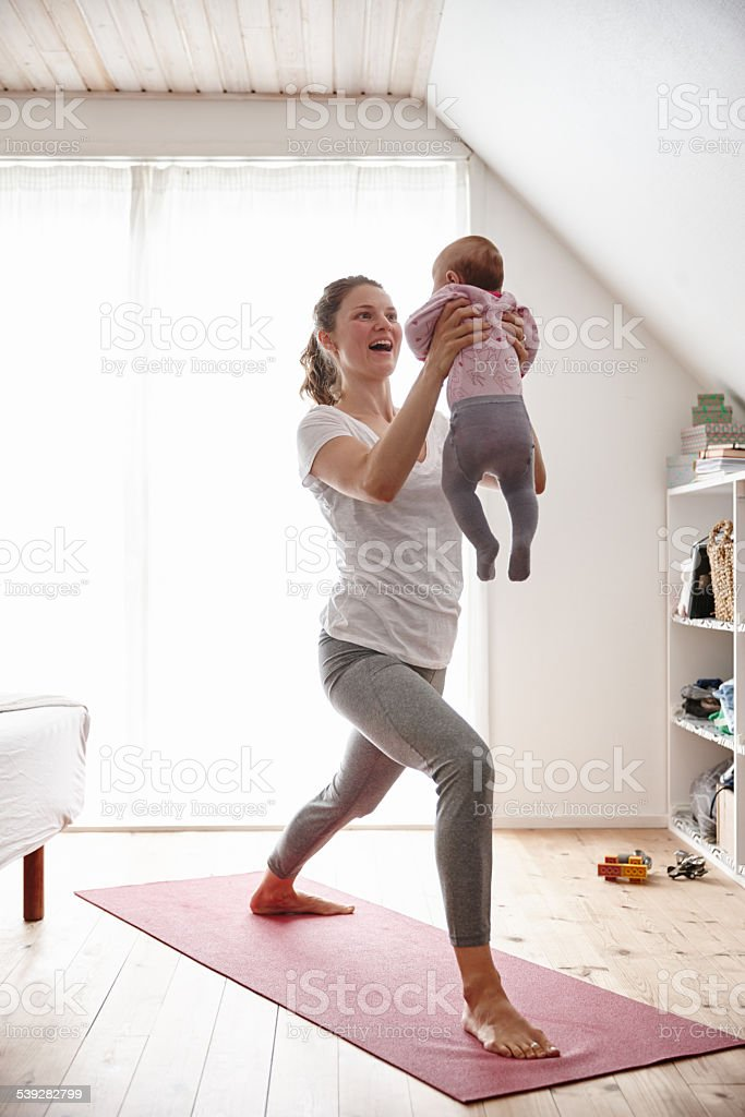 Body conscious mom and baby stock photo