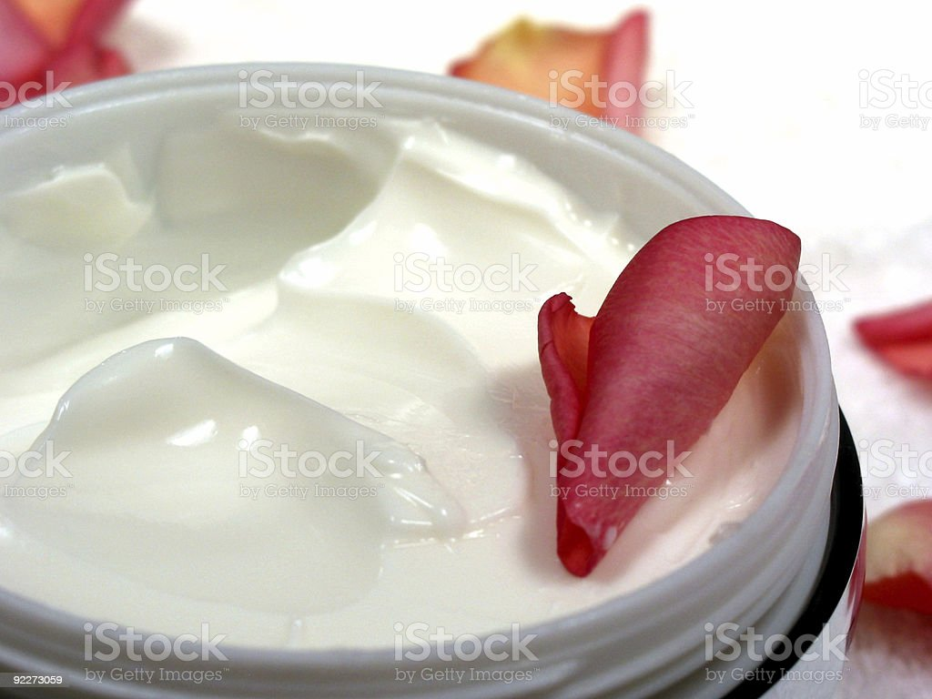 Body cream with rose petals 7 royalty-free stock photo