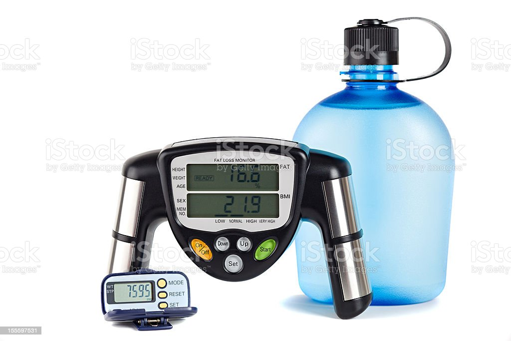 Body fat monitor and Padometer stock photo