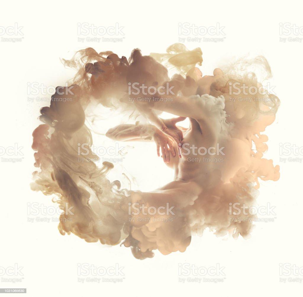 Body in smoke stock photo