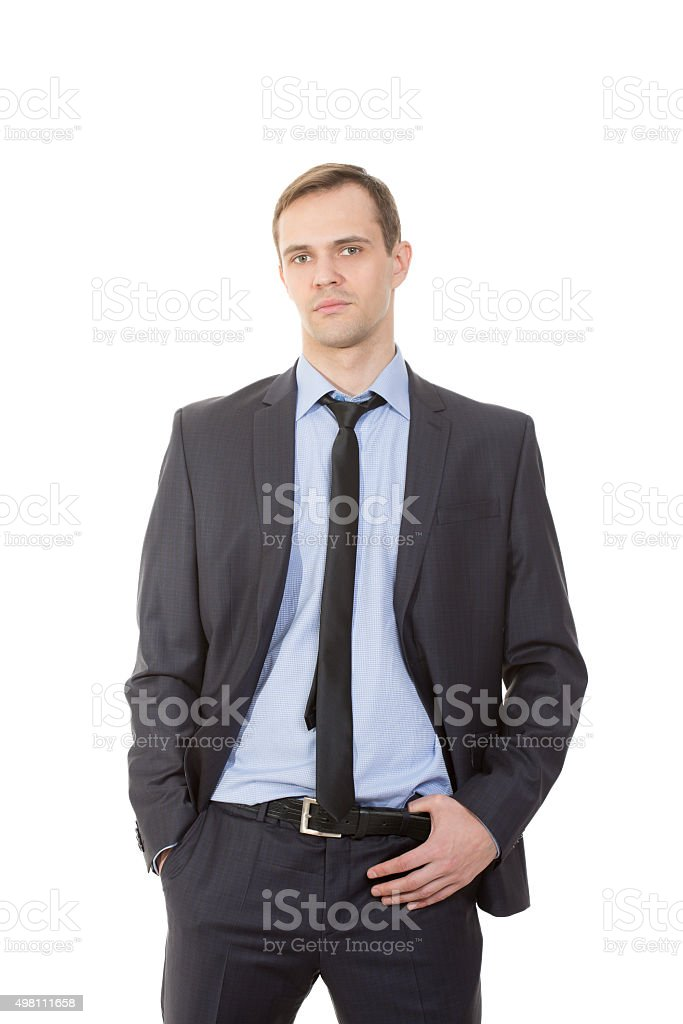 body language. man in business suit. isolated white background. hand stock photo