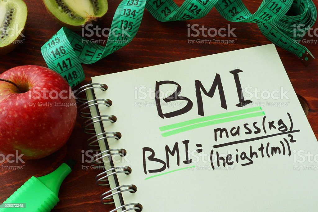 BMI body mass index written on a notepad sheet. stock photo