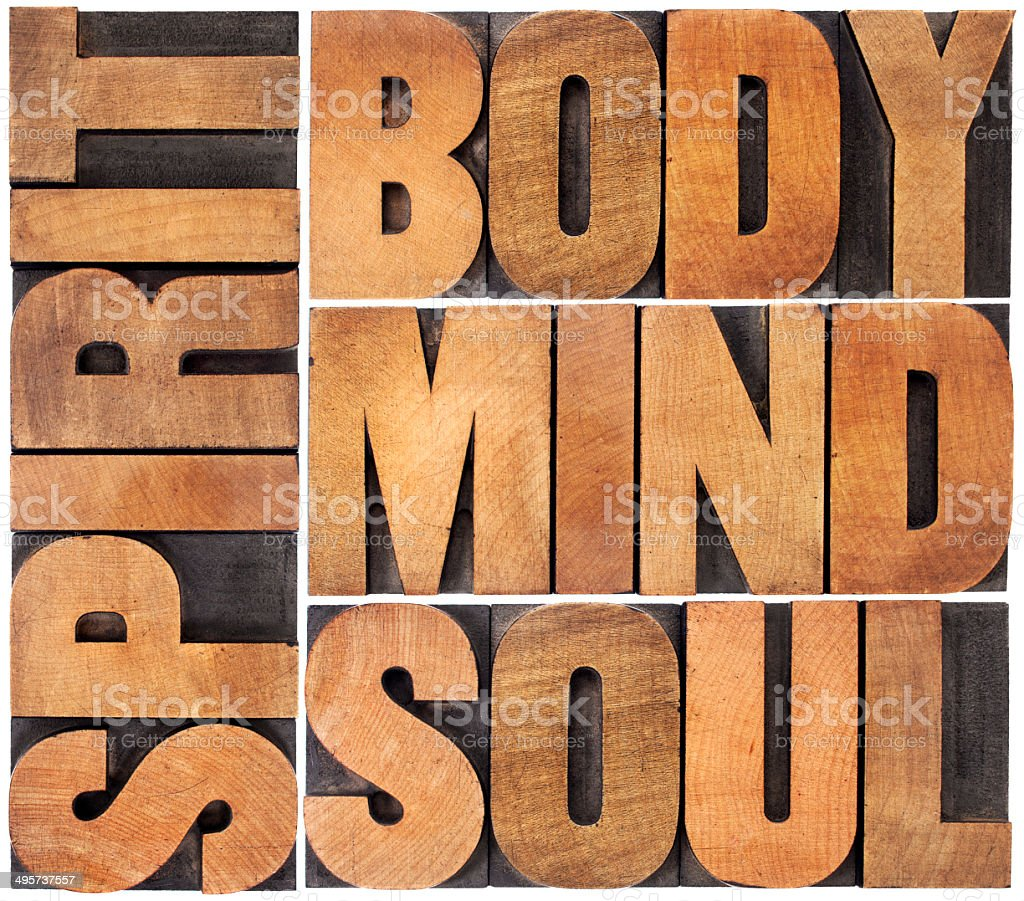 body, mind, soul and spirit stock photo