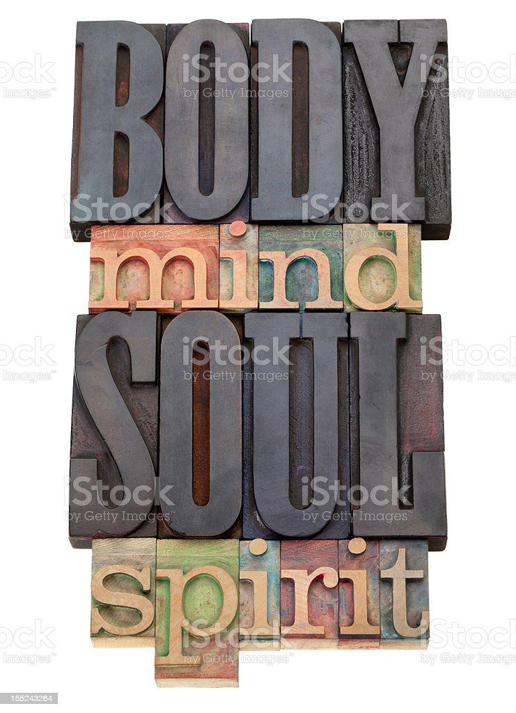 body, mind, soul, spirit  in letterpress type royalty-free stock photo