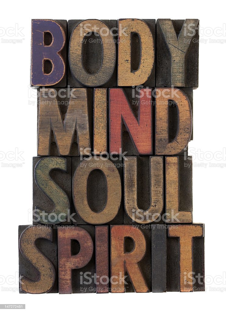 body, mind, soul, spirit in old wood type royalty-free stock photo