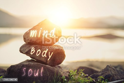 Holistic health concept of zen stones / Concept body, mind, soul, spirit