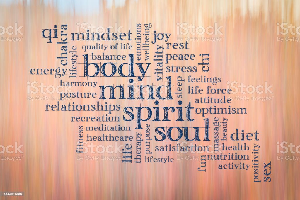 body, mind, spirit and soul word cloud stock photo