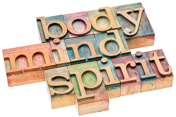 body, mind, spirit concept in wood type - cerveau humain photos et images de collection