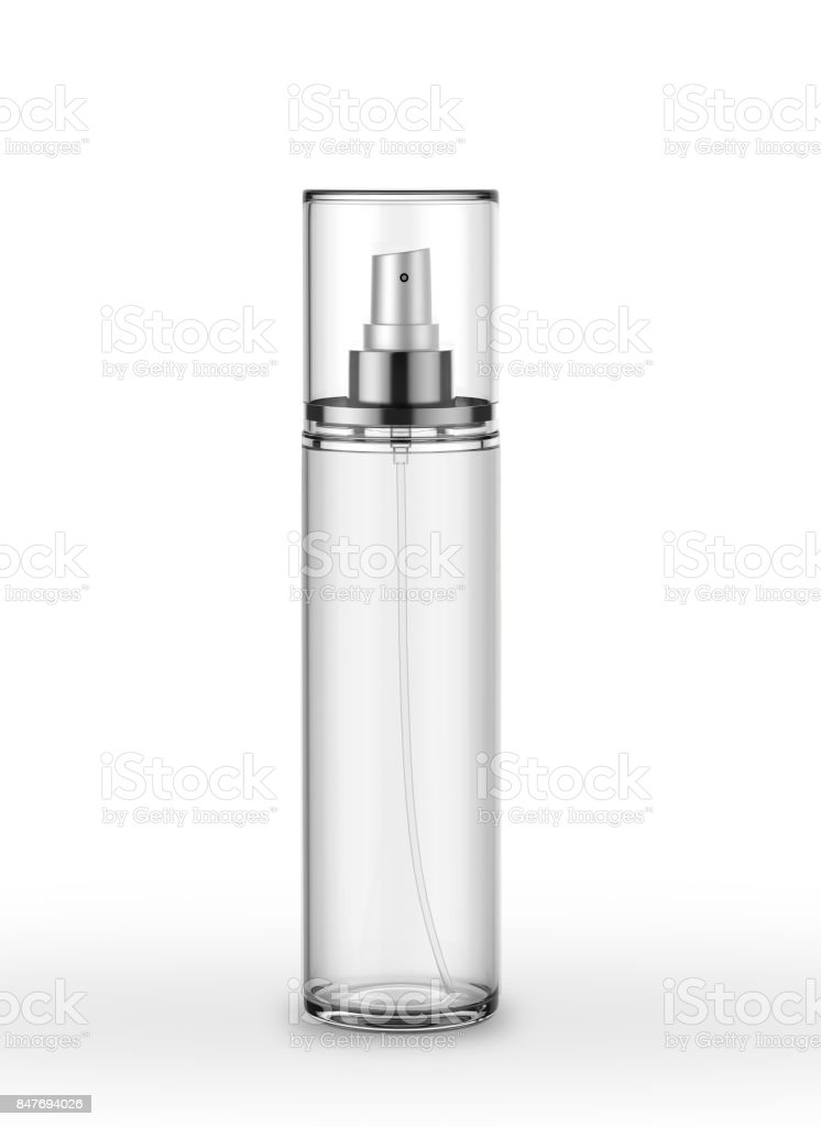Body Mist Perfume Spray Mock Up Template On Isolated White Background stock photo