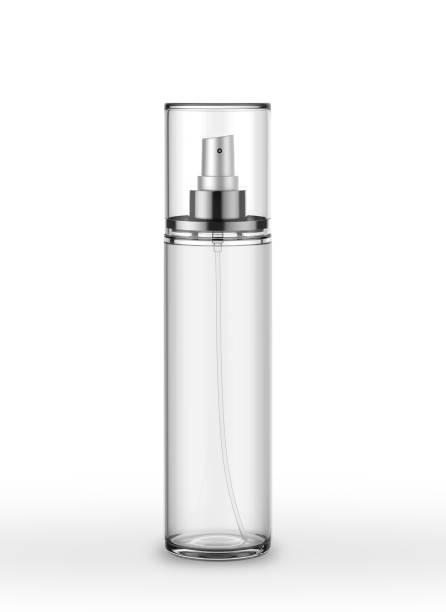 body mist perfume spray mock up template on isolated white background - spruzzo profumo foto e immagini stock