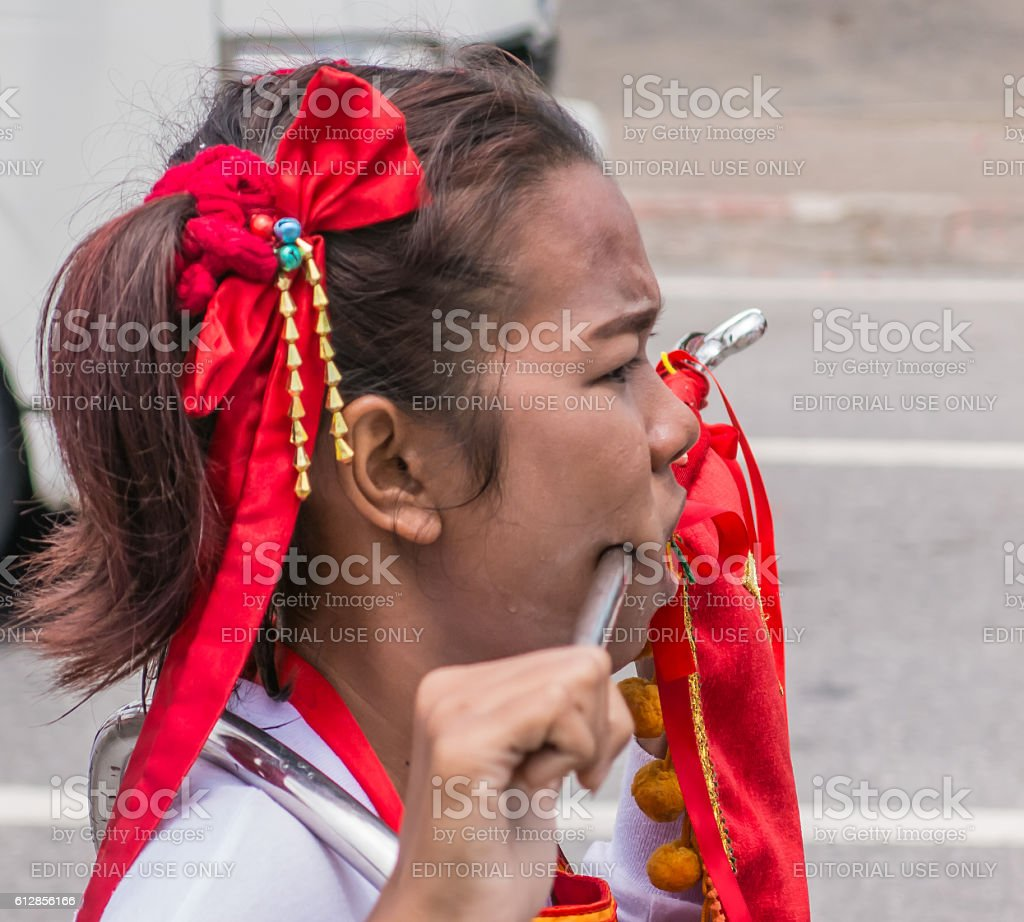 Body Modification Extreme Chinese Festival Young Woman Stock Photo