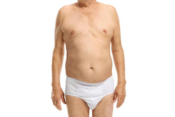 body of an elderly man in underwear - a petto nudo foto e immagini stock