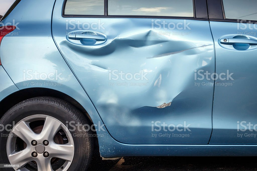 Body of car get damage by accident stock photo