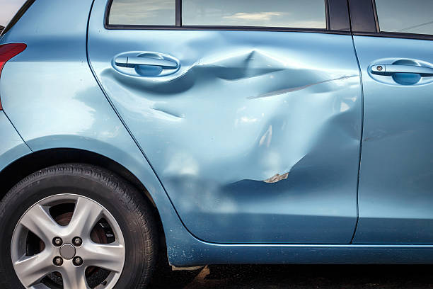 body of car get damage by accident - dent stock pictures, royalty-free photos & images