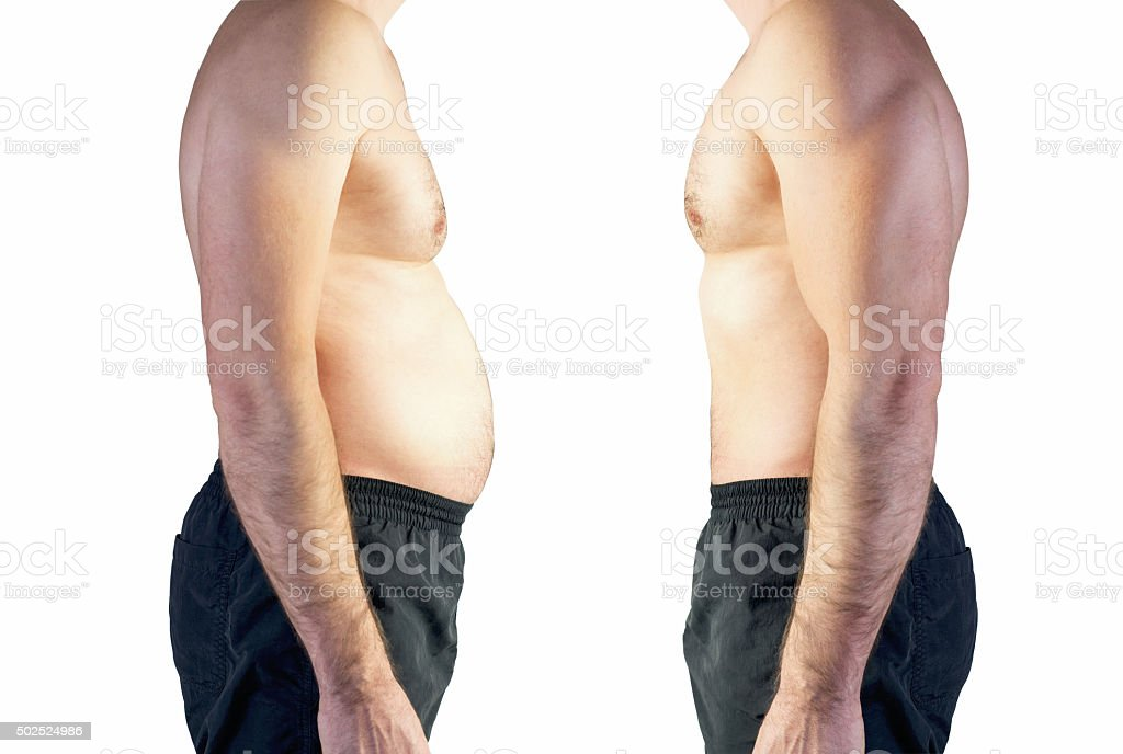 body of man between fat and thin stock photo