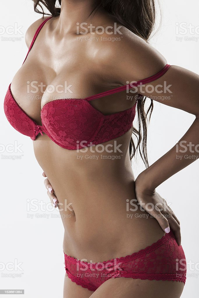 Body of sexy woman in red lingerie stock photo