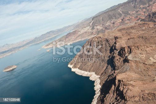 A side-view of the dry and wet mountainous Grand Canyon.