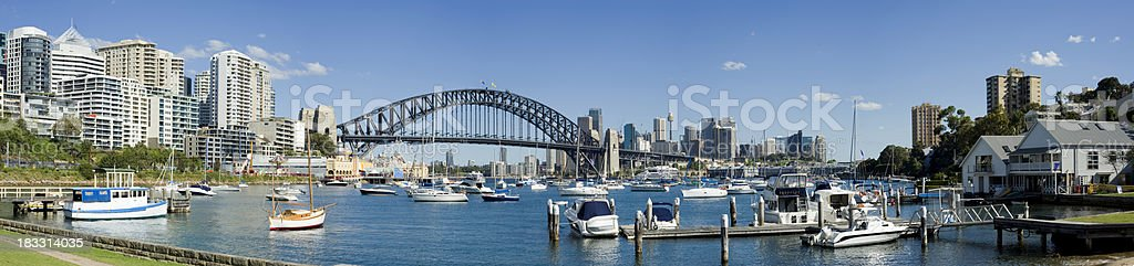 Body of water with many boats under Sydney Harbor Bridge. royalty-free stock photo