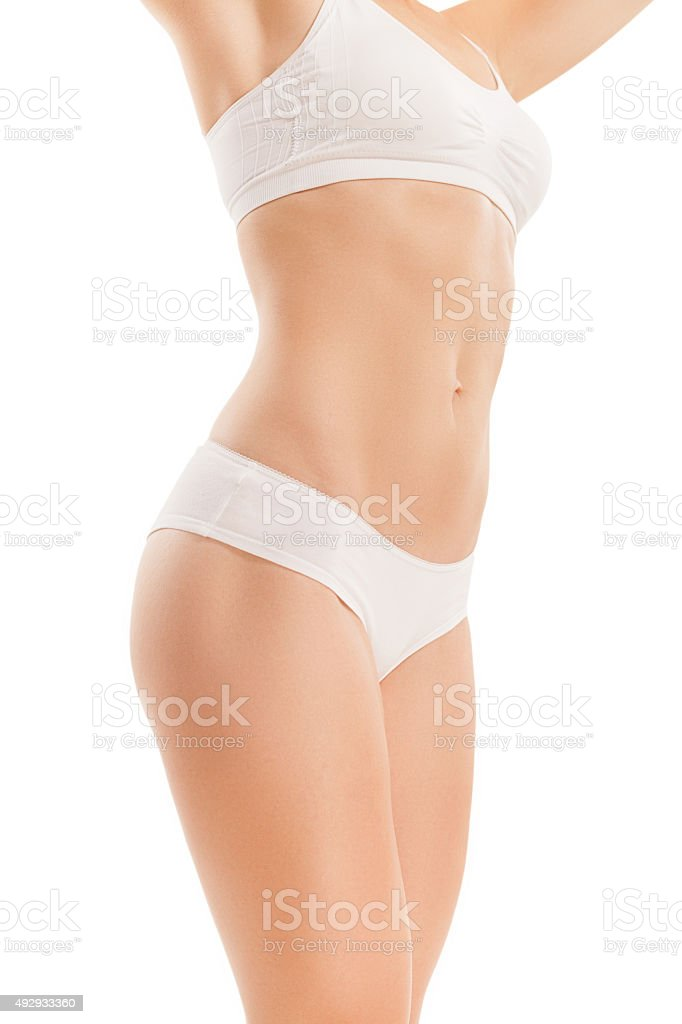 Cuerpo de mujer con estómago con pantalla plana. - foto de stock