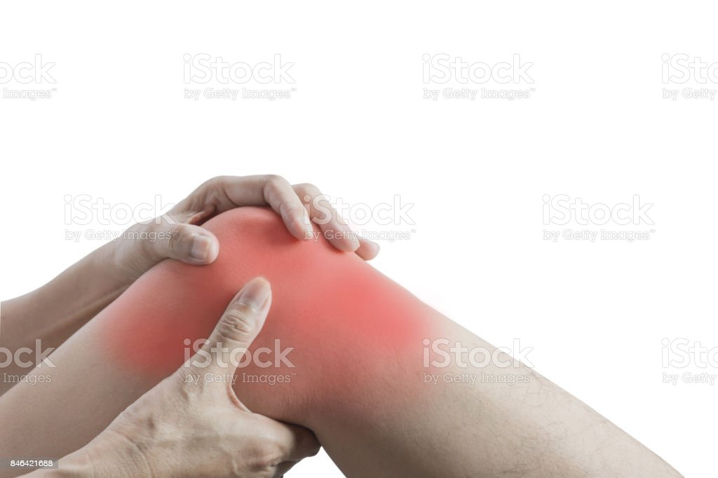Body pain. close-up female body with pain in knees. Woman hands touching and massaging painful knee. stock photo