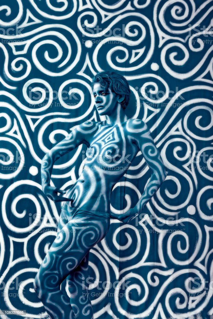 Body Paint: Swirl Camouflage royalty-free stock photo