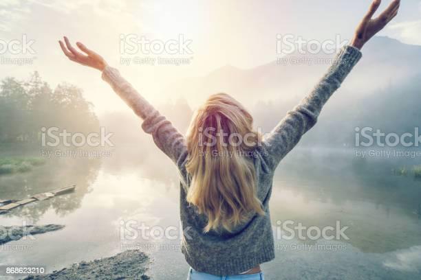 Photo of Body positive girl enjoying freedom in nature