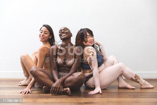 Body positivity - women friends posing at home in lingerie