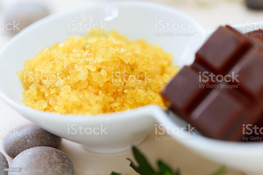 Body scrub. Salt Scrub and Chocolate stock photo