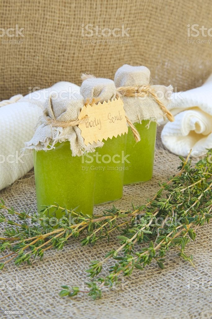 Body scrub with thyme essential oil. stock photo