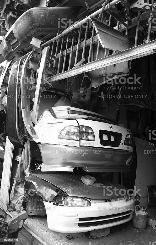 Body Shop with Honda Civic Bonnet and Trunk, Karachi Scrapyard royalty-free stock photo