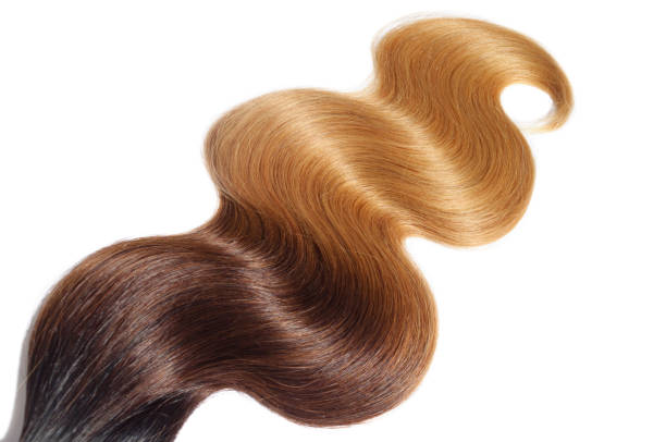 body wave ombre three tone virgin human hair extensions bundles stock photo