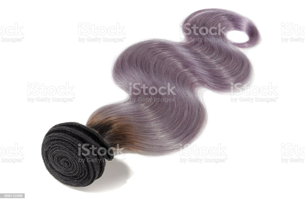 Body wave two tone dip black with purple ombre  hair extension bundles stock photo