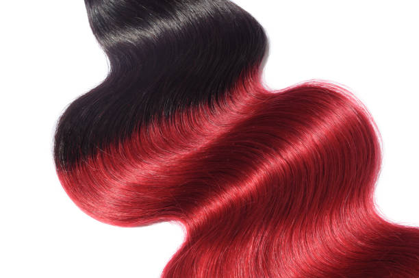 Body wavy two tone ombre black with red human hair weave extension bundles stock photo