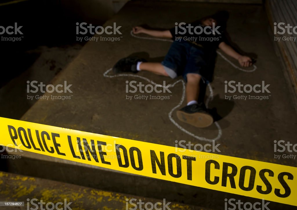 Body with Chalk Outline at Crime Scene stock photo