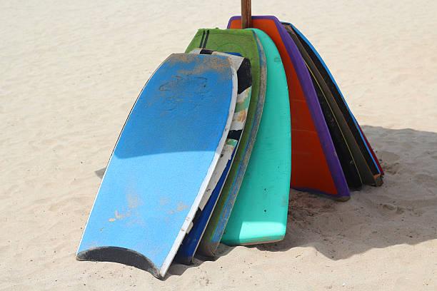 Bodyboards on Jimbaran beach, Bali stock photo