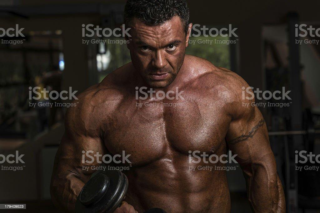 Bodybuilder Doing Heavy dumbbell Exercise royalty-free stock photo