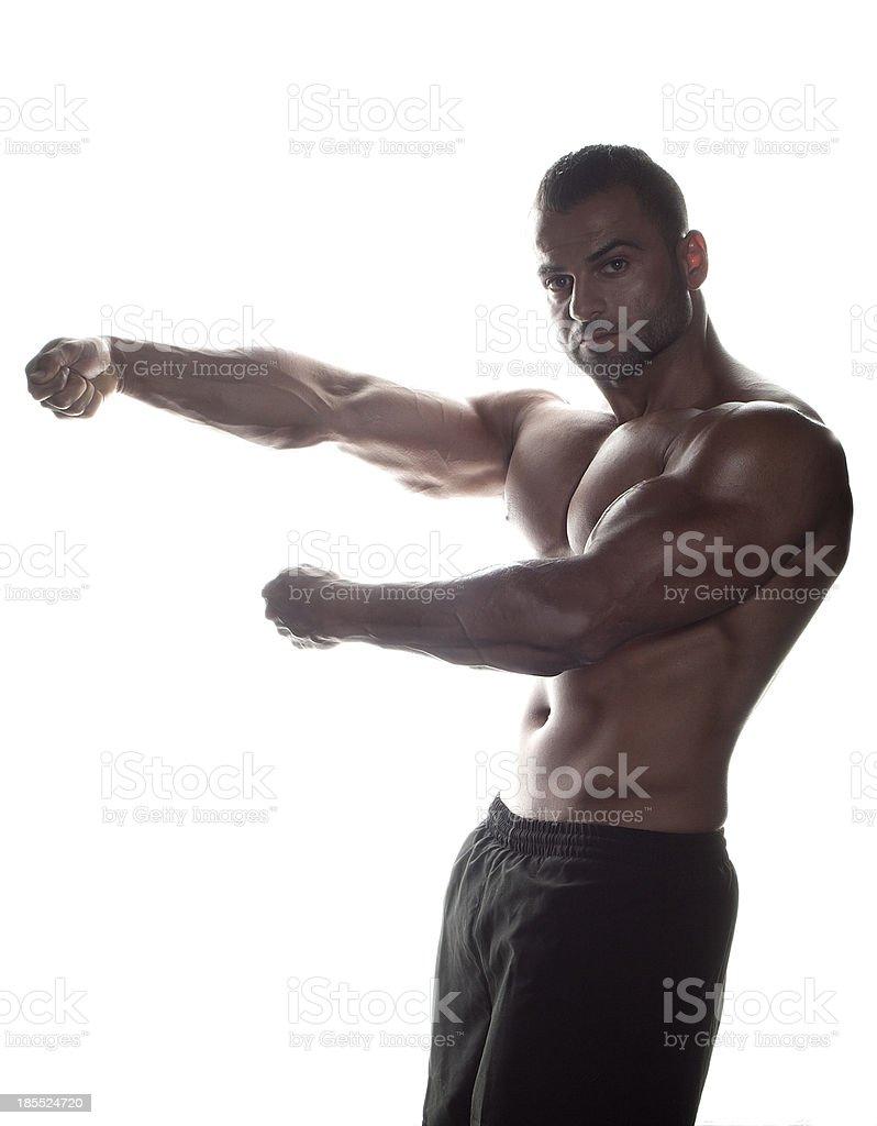 Bodybuilder in Arnold Schwarzenegger pose stock photo